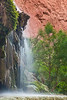 This is a very pretty and delicate waterfall on Havasu Creek which is called Shower Falls as it makes a good place to take a shower.  The base is flat and easy to stand on and water a nice spray.